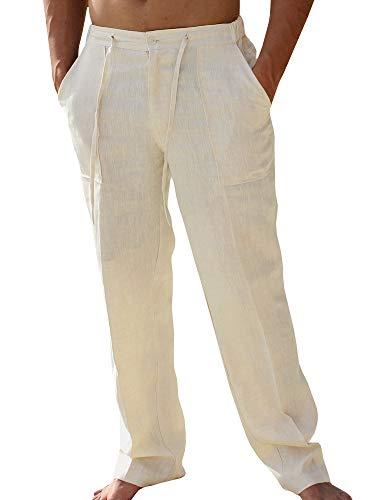 Pxmoda Leinenhosen Herren Freizeithose Lang Leichte Sommerhose Strandhose Leinen Kurze Hosen Herren Lässige Freizeithose mit Seitentaschen 1 - Beige L