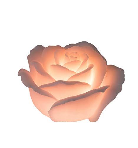 Wunderschöne LED Kerze flammenlose Kerze in Form einer Rose Farbe Rosa inklusive Batterien und Timer Höhe 11 cm