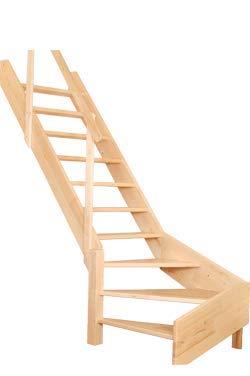 OMAN Raumspartreppen 'Turn' - Treppe mit Wendelung aus Holz (280 x 80 - Rechts)