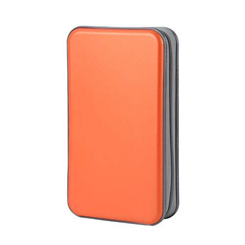 Photo of CD Case Hard, alavisxf xx 96 Capacity Plastic Portable Travel CD Case Protective Zipper DVD Case Holder Disc Car Storage Wallet Bag (96 Capacity, Orange)