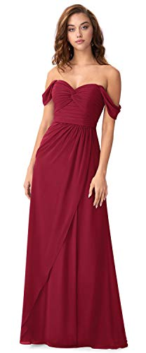 LXROAT Women's A-Line Side Slit Off The Shoulder Bridesmaid Dress Pleated Long Evening Ball Gown Burgundy Size 2