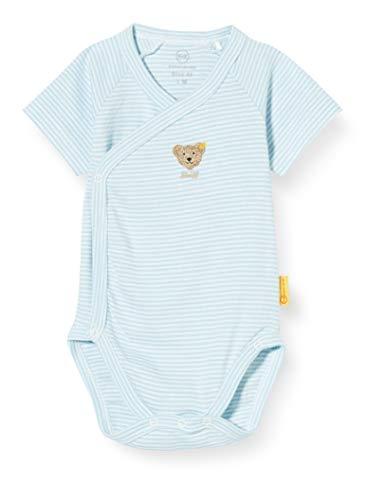 Steiff Unisex Baby praktischer Wickelknöpfung Body, Blau, 56