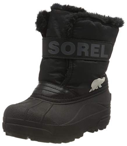 Sorel - Youth Snow Commander Snow Boots for Kids, Black, Charcoal, 7 M US