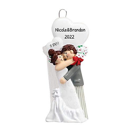 Personalized I do Christmas Tree Ornament 2020 - Just Married Brunette Newlywed Couple Hug White Heart Brown Hair Bride Groom 1st Ceremony Romantic Wedding Love First Year - Free Customization