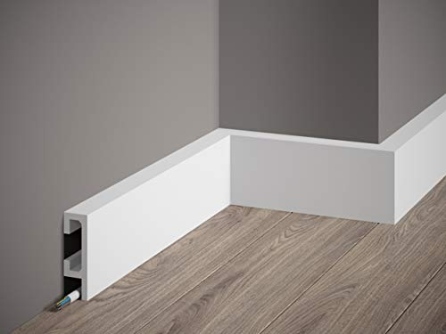 MARDOM DECOR Sockelleiste I QL019 ScratchShield® & LightGuard® I Kabelkanal Fußbodenleiste Abdeckleiste I 200 cm x 8,0 cm x 2,5 cm