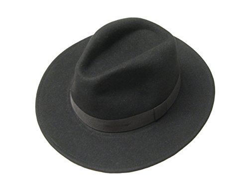 Major Wear Unisexe Large Bord Noir en Feutre de Laine Cowboy Indiana Jones Chapeau Fedora Style - Noir - Large