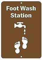 注意サイン-フットウォッシュステーション。通知のためのインチ通りの交通危険屋外の防水および防錆の金属錫の印