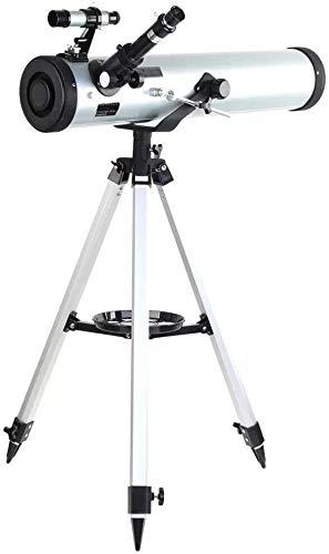 Qianqiusui Telescopio, el Rendimiento del Espejo 700-76 con trípode de Aluminio Ajustable acimut, Adecuado for niños Principiantes (Color : As Shown, Size : 700mm)