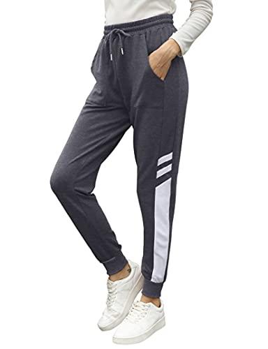 KOJOOIN Damen Jogginghose Lange Sporthose Loose Fit Trainingshose mit Kordelzug und Taschen, Baumwolle Freizeithosen Streifen Sweathose Weinrot S