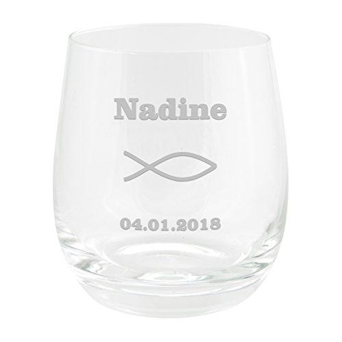 Teelicht zur Konfirmation mit Gravur (Durchsichtig): Teelichthalter Glas personalisiert mit individueller Gravur, Name und Datum/Konfirmationsgeschenke für Jungen und Mädchen