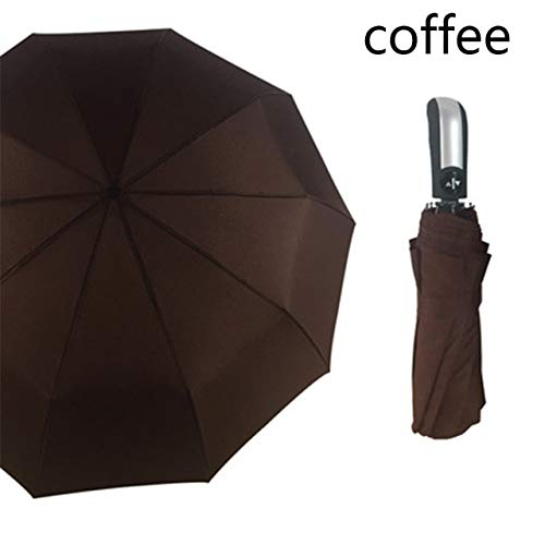 ZGMMM drievoudige paraplu, automatisch, windbestendig, regen, vrouwen, winddicht, paraplu, heren, winddicht frame Chocolade
