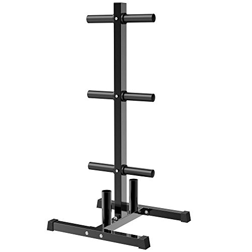 Topeakmart Tree Olympic Plate Rack Weight Bumper Plate Holder with 2 Bar Holders Black