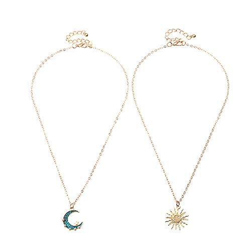 Collares para mujer, 2 capas vintage Sun Moon Collar Rhinestone colgante joyería accesorio