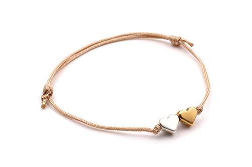 Armband 2 Herzen Farbe silber und rosegold, bicolor, Makramee Armband viele Farben erhältlich, Freundschaftsarmband, filigran, Geschenk
