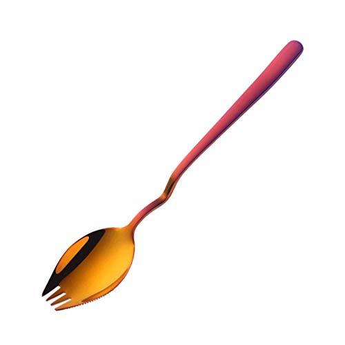 Cuchara de postre / Cucharas de sopa Cuchara multifunción de acero inoxidable para utensilios de campamento, Cuchara de tenedor de 8.3 pulgadas 2 en 1, Fideos Aperitivo de frutas Cuchara de ensalada d