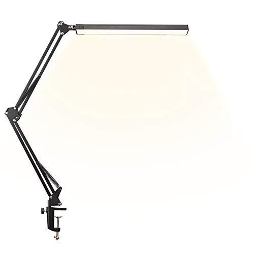 LED Schreibtischlampe, Dimmbar Architektenlampe mit Schwenkarm 12W, Büro Tischlampe mit 3 Farbtemperaturen und 10 Helligkeitsstufen 3000K-6000K, Augenschutz Tischlampe für Lesen, Arbeiten, Lernen