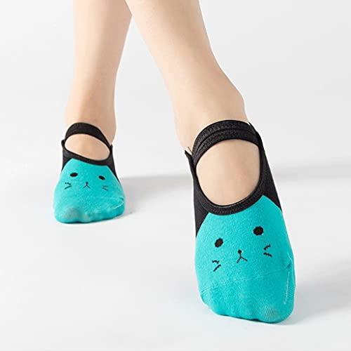 HKDQZ Calcetines de Yoga con agarres para Las Mujeres Entrenamiento de Pilates Calcetines con Correas Lindas de Dibujos Animados Gatos Zapatillas de Calcetines