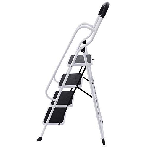 KARMAS PRODUCT 4 Step Ladder with Handles Folding Kitchen Step Stool for Home,Anti-Slip Safty Steel Ladders 330LB