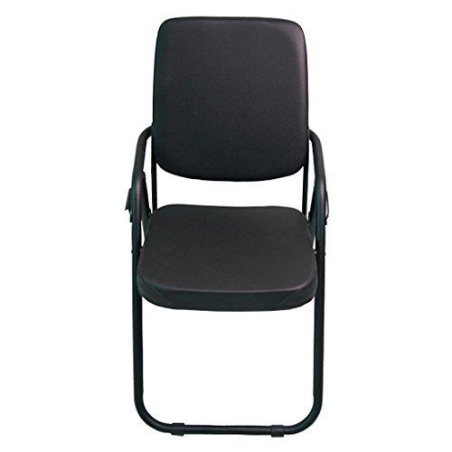 URYE Camping-Stühle Klappstuhl Rückenlehne Leder Schwamm gefüllt Stuhl für Office Training Konferenz Haushalt Esszimmer Buch Zimmer schwarz