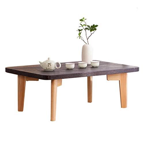 Tavolino Tavolino Giapponese Kang Tavolino Tata Riso Rettangolare Basso in Legno Massello Tavolino Zen Balcone Tavoli e tavolini (Color : Charcoal Burnt Color, Size : 80 * 50 * 30cm)