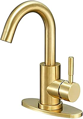 Touch Bar Sink Faucet, ARRISEA Single Handle Touch on Activated Bathroom Sink Faucet with 3 Hole Deck Plate, Brushed Nickel 360 Degree Swivel Smart Faucets for Lavatory/Prep Sinks
