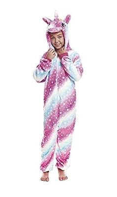 H HANSEL HOME Pijama Unicornio Cósmico Entero Infantil niño niñas de Dibujos Animado Disfraces Animales Carnaval Halloween Cosplay Ropa de Dormir. 100% Poliéster 3-4 años