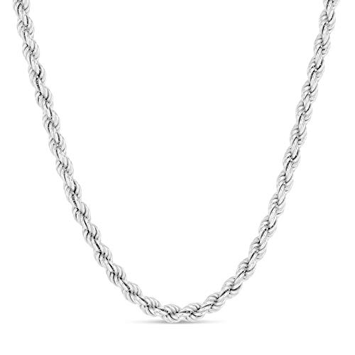 Verona Jewelers Sterling Silver 4MM Italian Diamond-Cut Rope Chain Necklace for Men - 925 Braided Twist Italian Necklace, (18)