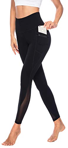 Persit Yoga Leggings Damen, Sporthose Yogahose Sport Leggins Tights für Damen Schwarz-XS