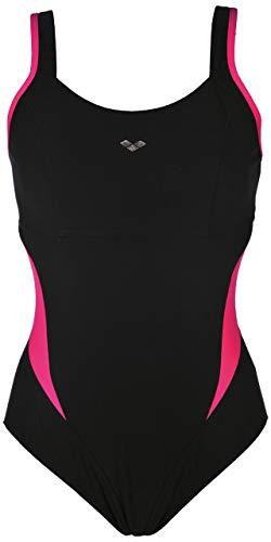Arena Women's Makimurax Low Strap Back C-Cup One Piece Swimsuit, Black / Rose Violet, 42