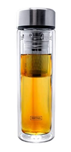 Nerthus FIH 664 Filtro 350 ml, Aislante Gracias a su Doble Pared, Botella infusor, Termo, Taza de Viaje, Tetera de Cristal, 0.35 litros