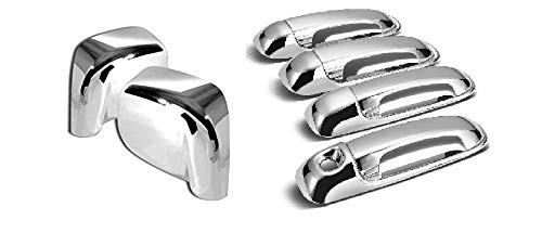 GHXSport Chrome Durable ABS Door Handle Cover and Door Side Mirror Cover Trim Kit for 02-08 Dodge Ram 1500/03-09 Dodge Ram 2500/3500 (Not For Towing Mirror)