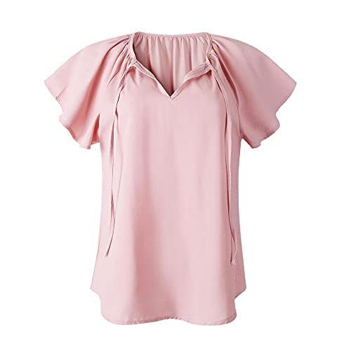 Mujer Blusa de Gasa Blusa de Verano con Volantes de Manga Corta Plisada Femenina