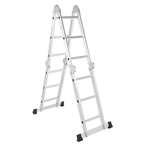 Escalera Plegables de Aleación de Aluminio, Escalera de Andamios Multifunción, Carga 150 KG, Escalera Telescópica Antideslizantes 3.5M