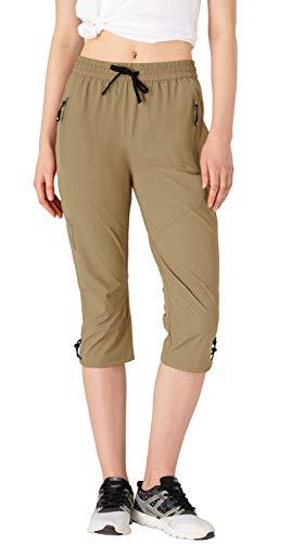 donhobo Pantalones 3/4 para mujer, para exterior, para senderismo, verano, transpirables, de secado rápido, ligeros, pantalones largos para camping, trekking