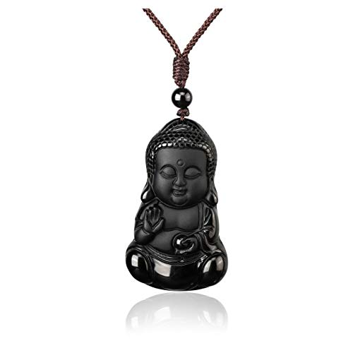 MANIFO Gemstone Buddha Pendant Necklace Hand Carved Obsidian Crystal Bodhisattva Talisman Necklace Protection Amulet Healing