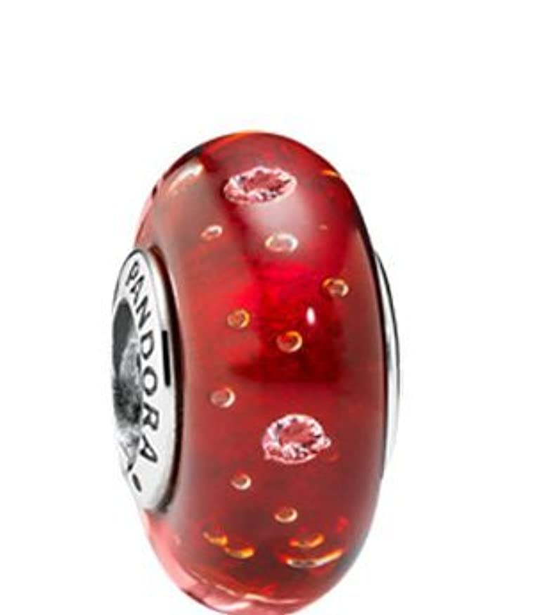 PANDORA RED EFFERVESCENCE WITH CLEAR CZ MURANO GLASS 791631CZ