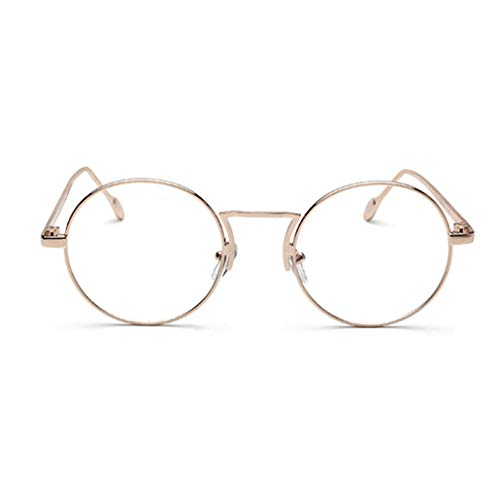Damen Durchsichtige Fashion Brille Nerd Brille Metall Brillen