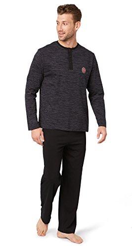 TOM TAILOR Underwear Herren Pyjama, 3-Knopfv, offen Zweiteiliger Schlafanzug, Schwarz (Black 9729), (Herstellergröße: 56/XXL)