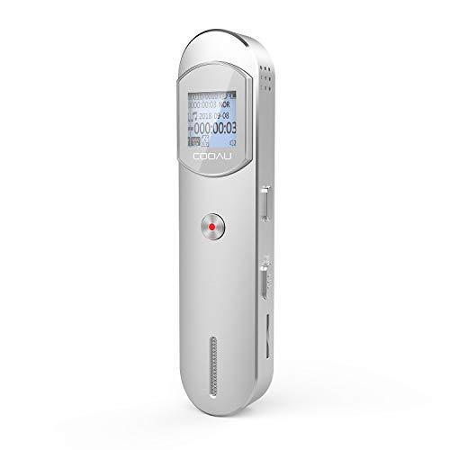 Registratore Vocale Digitale, Portatile da 8GB USB 1536kbps Supporta Scheda SD da 32 GB (HD) Riduzione del Rumore, Rilevamento Automatico del Suono Adatto per Riunioni Interviste Lezioni