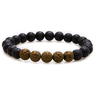 Bivei Essential Oil Bracelet, Lava Rock Stone Diffuser Gemstone Bead Stretch Bracelet(Titanuim Yellow)
