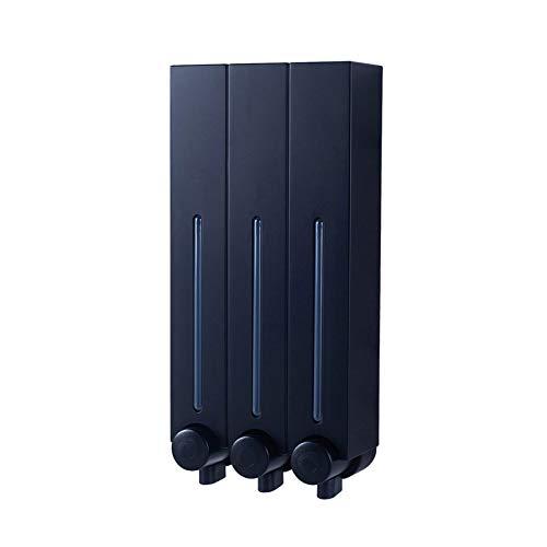 JRZDFXS Distributori da Bagno Doccia Distributori a Parete 3 Dispenser di Sapone da Camera Tengono lozione di Lavaggio del Corpo dello Shampoo del condizionatore (Color : Black, Size : Triple)