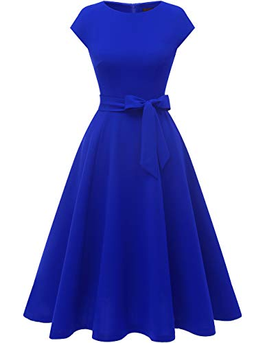 DRESSTELLS Midi 1950er Vintage Retro Rockabilly Kleid Damen Royalblau Vintage Kleid Petticoat Kleid Festliches Cocktailkleid Royalblue S