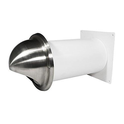 EASYTEC® Mauerkasten Ø 150 mm mit Rohr und Rückstauklappe/Edelstahl-Blende für Dunstabzugshauben und Lüftungsanlagen