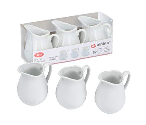 Alpina - Juego de 3 jarras de cerámica para leche (3 unidades), color blanco