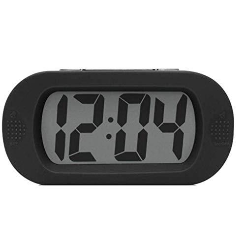 ZBNZ Grande de la alarma de viaje digital LCD con temporizador de apagado,sonido de alarma y Portable Size,regalos de perfecto for los niños (Color : Black)