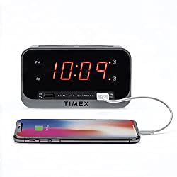 Timex Bedside Alarm Clock with Dual USB Charging, Dual Alarm, Nightlight, Snooze bar, and Battery Backup (T1300)
