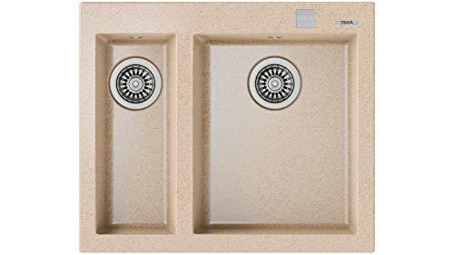 Teka 115260021 Fregadero de cocina hecho de granito (granito) con un solo y medio cuenco Forsquare 590 TG avena-115260021, Avena beige