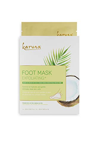 Karuna Exfoliating+ Foot Mask: for Rough & Callused Skin, Hydrates & Gently Exfoliates Dead Skin...