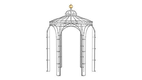ELEO Siena wunderschöner Gartenpavillon Winterfest I Stabiler Rundpavillon Feuerverzinkt Ø 2,1 m I Stabiler Rosenpavillon aus Schmiedeeisen mit Messingkugel I Pavillon für Garten