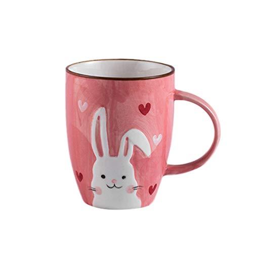 UPKOCH 1 pezzo tazza in ceramica per bambini Cartoon carino coniglio latte tazza 380 ml rosa tazza da caffè con manico per bambini caffè a casa